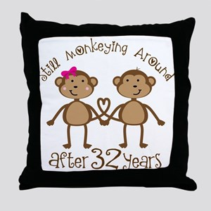 32nd Anniversary Love Monkeys Throw Pillow