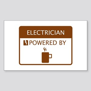 Electrician Powered by Coffee Sticker (Rectangle)