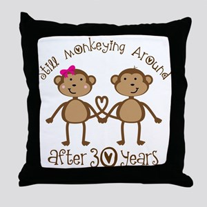 50th Anniversary Love Monkeys Throw Pillow