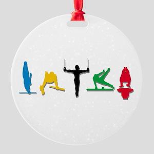 Mens Gymnastics Round Ornament