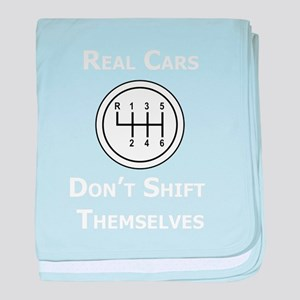 Real Cars Don't Shift Themselves (wht) baby blanke