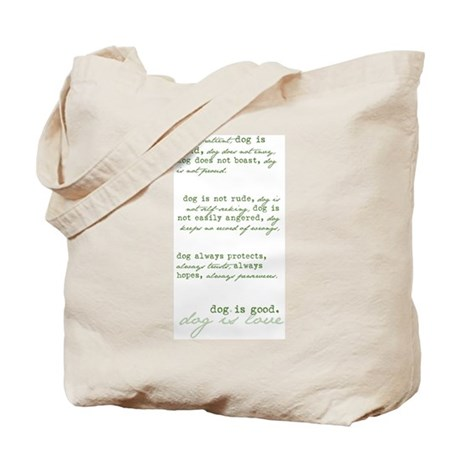 Dog is Love (green) Tote Bag