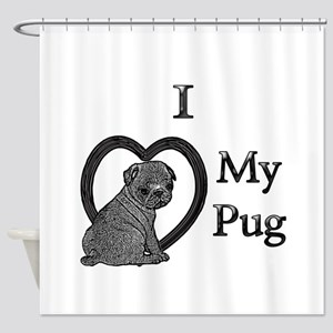 B@W Pug 1 Shower Curtain