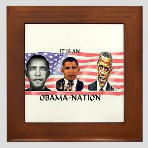 Obama-Nation Flag Framed Tile