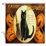 Vintage Halloween Jackolanterns Cat Shower Curtain