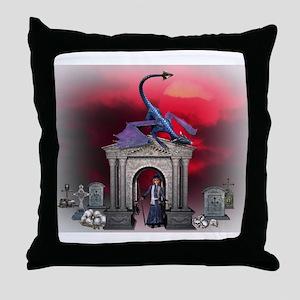 Medieval Dragon & Wizard Throw Pillow