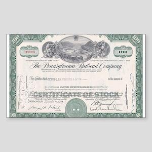 PENNSYLVANIA RR STOCK CERTIFICATE Sticker (Rectang