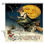 Vintage Halloween Full Moon Witch Shower Curtain