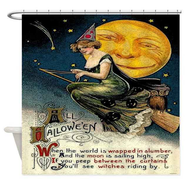 Vintage Halloween Full Moon Witch Shower Curtain By Rebeccakorpita