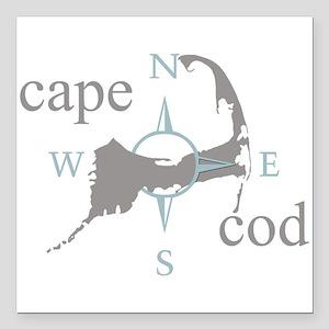 "Cape Cod Compass Square Car Magnet 3"" x 3"""