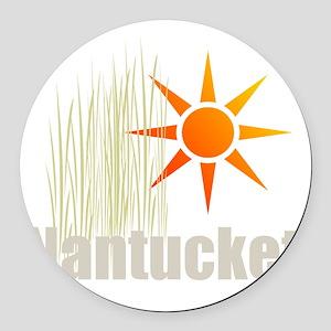 Nantucket Grass Round Car Magnet