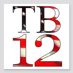 "TB 12 Square Car Magnet 3"" x 3"""