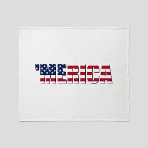 Merica USA Throw Blanket