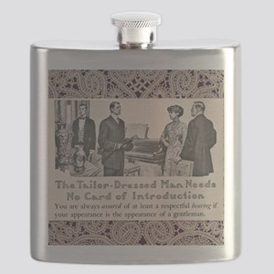 Tailor-Dressed Man with Lace Background Flask