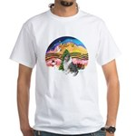 XMusic2-BlueM Collie White T-Shirt