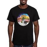 XMusic2-BlueM Collie Men's Fitted T-Shirt (dark)