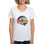 XMusic2-BlueM Collie Women's V-Neck T-Shirt