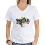 XMusic #1-Collie (sw-$) Women's V-Neck T-Shirt