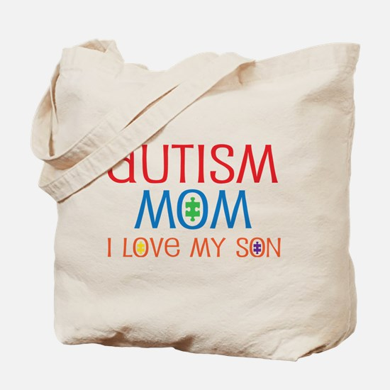 Autism Mom Loves Son Tote Bag