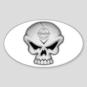 SKULL Chrome Oval Sticker