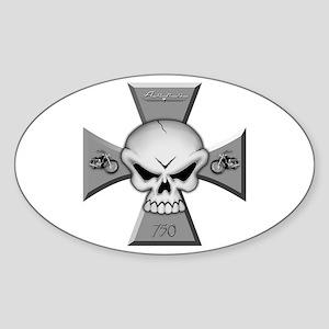 Maltese Skull Oval Sticker