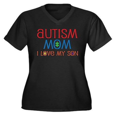 Autism Mom Loves Son Women's Plus Size V-Neck Dark