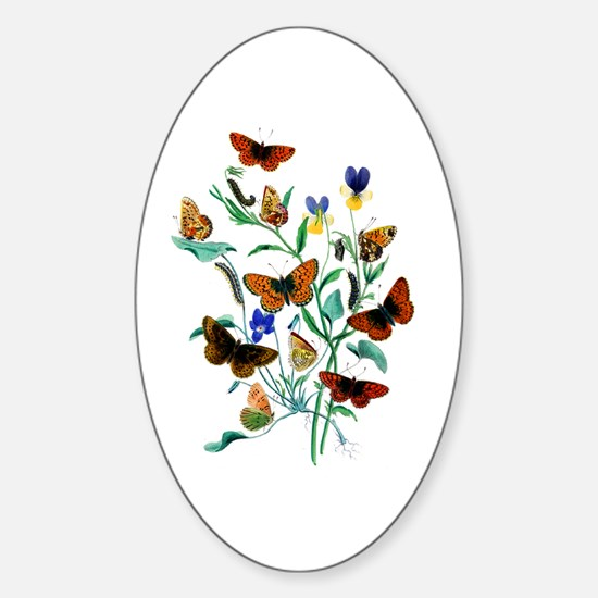 Butterflies of Summer Sticker (Oval)
