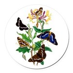 Butterflies and Honeysuckle Round Car Magnet