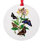 Butterflies and Honeysuckle Round Ornament