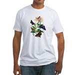 Butterflies and Honeysuckle Fitted T-Shirt