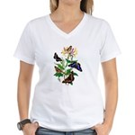 Butterflies and Honeysuckle Women's V-Neck T-Shirt
