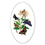 Butterflies and Honeysuckle Sticker (Oval)