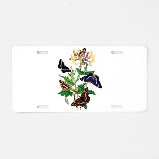 Butterflies and Honeysuckle Aluminum License Plate