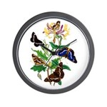 Butterflies and Honeysuckle Wall Clock
