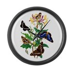 Butterflies and Honeysuckle Large Wall Clock