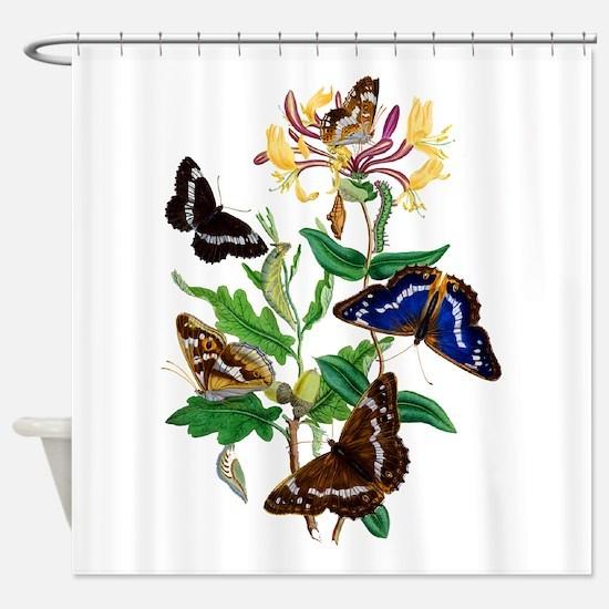 Butterflies and Honeysuckle Shower Curtain