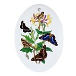 Butterflies and Honeysuckle Ornament (Oval)
