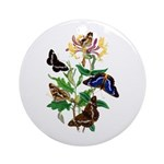 Butterflies and Honeysuckle Ornament (Round)
