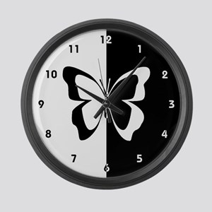 Black and White Butterfly Large Wall Clock