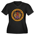 USS AMERICA Women's Plus Size V-Neck Dark T-Shirt
