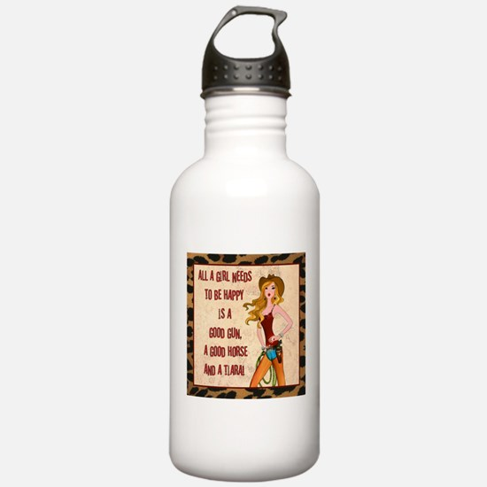 All A Cowgirl Needs Water Bottle