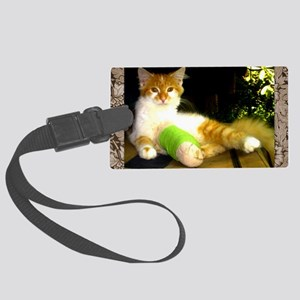 Kitty with a leg cast Large Luggage Tag