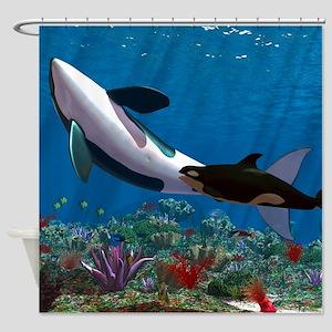 Orca Family Shower Curtain