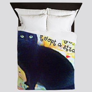 Stray Black Kitty Queen Duvet