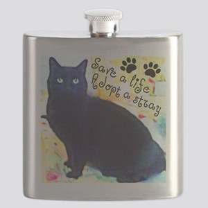 Stray Black Kitty Flask
