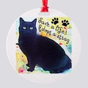 Stray Black Kitty Round Ornament
