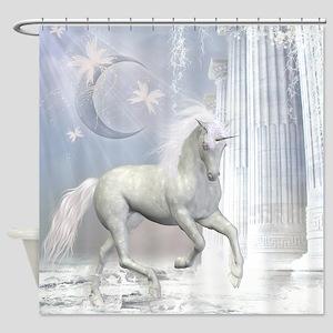 White Unicorn 2 Shower Curtain
