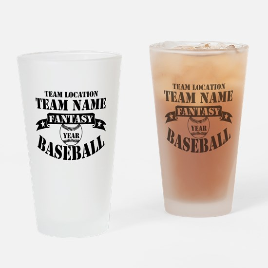 Personalized Fantasy Baseball Drinking Glass