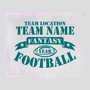 PERSONALIZED FANTASY FOOTBALL TEAL Throw Blanket