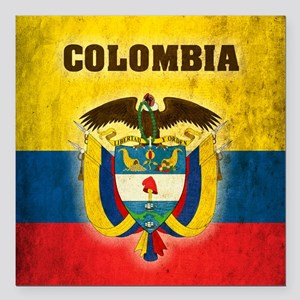 "Vintage Colombia Square Car Magnet 3"" x 3"""